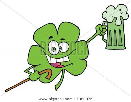 Happy Green Clover Leaf Cheering With A Mug Of Beer