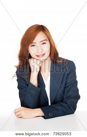 Happy Asian Office Girl Smiling Resting Her Chin On Hand