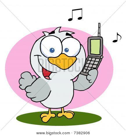 Aufrufen von Vogel halten einen Handy