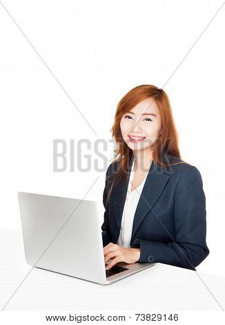 Asian Office Girl Smile With A Labtop