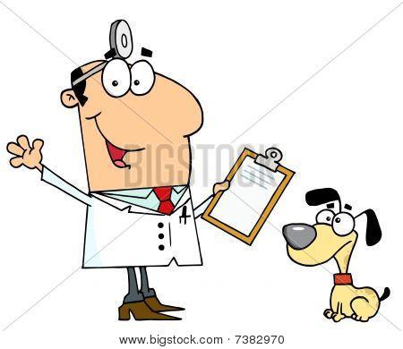 Caucasian Cartoon Dog Veterinarian Man