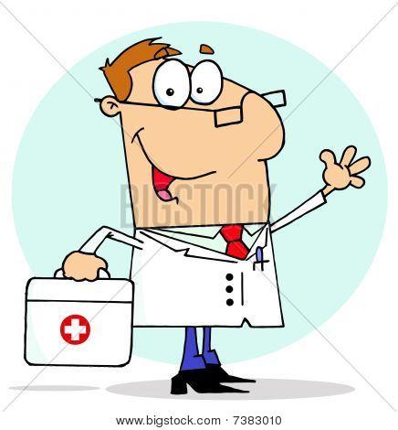 Cartoons caucasian doktor Mann seine erste-Hilfe-Tragetasche