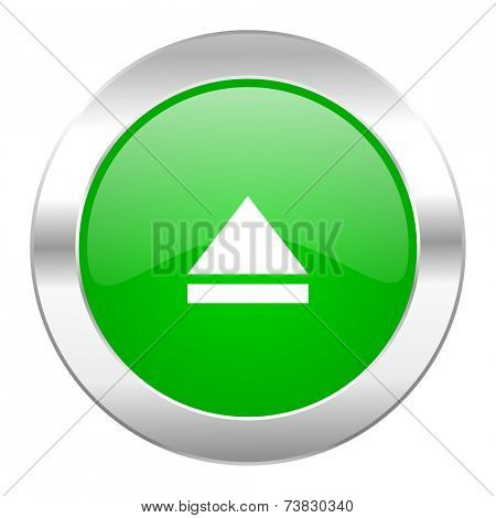 eject green circle chrome web icon isolated