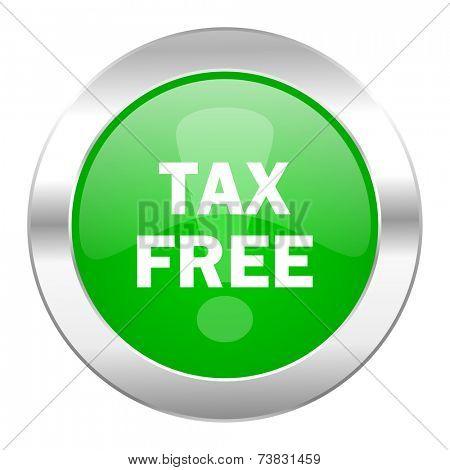 tax free green circle chrome web icon isolated