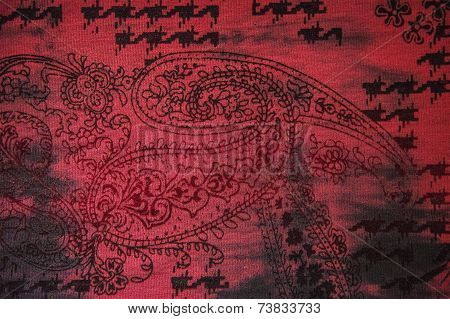Red Indian Patern Fabric Background