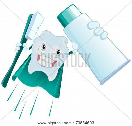Tooth Superman holds toothpaste and toothbrush