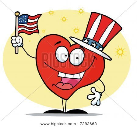 Patriotic American Heart Character In A Hat Flag On Independence Day