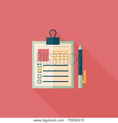 Clipboard Flat Icon With Long Shadow