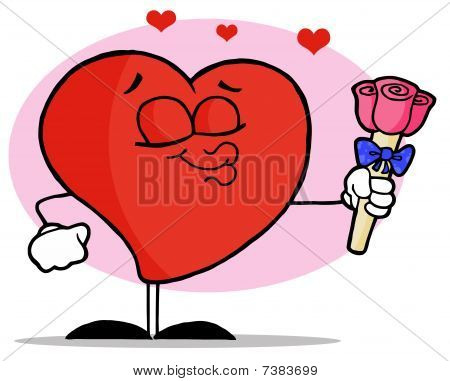 Romantic Male Red Heart Puckering His Lips And Giving Pink Roses