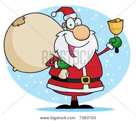 Jolly Christmas Santa Ringing A Bell And Carrying His Toy Sack