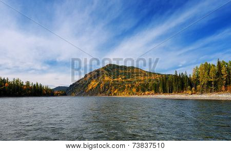 Siberian Autumn Landscape On The River