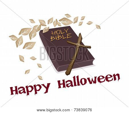 Holy Bible and Wooden Cross with Word Happy Halloween