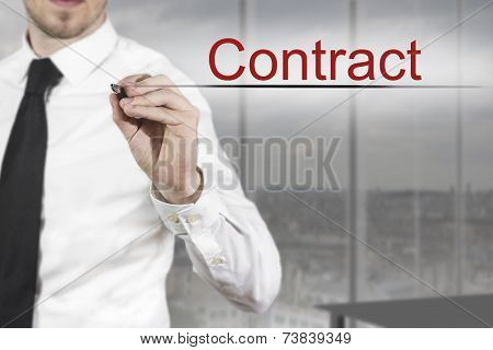 Businessman Writing Contract In The Air