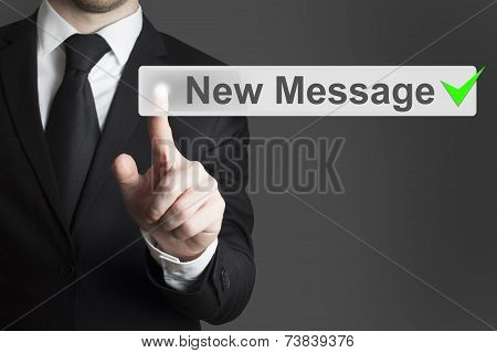 Businessman Pushing Flat Touchscreen Button New Message