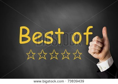 Thumbs Up Best Of Golden Ratings Stars Black Chalkboard