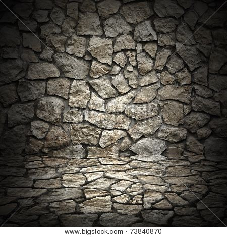 Old Grunge Wall Of Rough Stones As Background