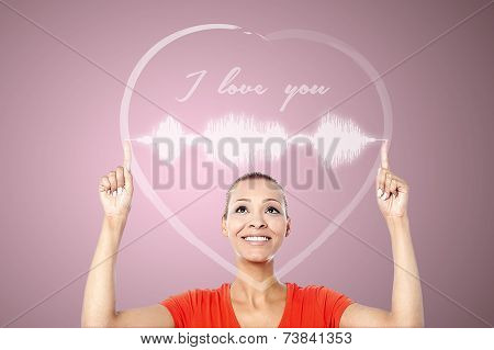 Attractive Woman With Heart Graphics