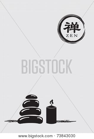 Zen Symbol With Stack Pebbles And Lit Candle Vector Illustration