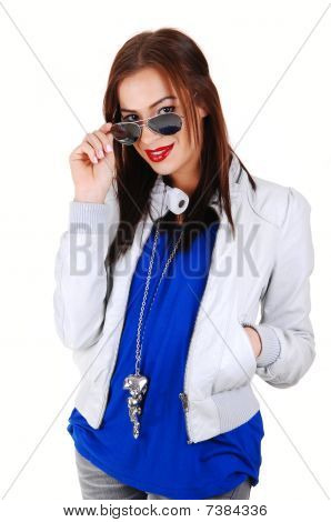 Girl With White Jacket And Sunglasses.