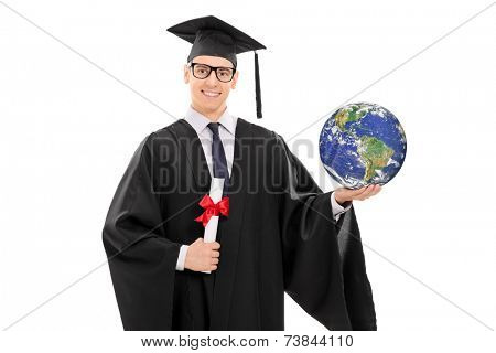 College graduate holding a diploma and the world isolated on white background, Earth image in public Domain and furnished by NASA