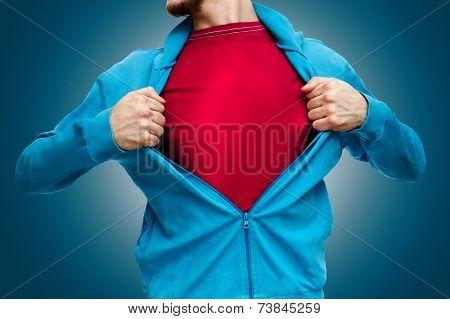 Man opening shirt