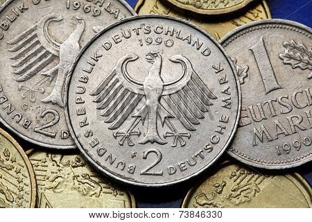 Coins of Germany. German eagle depicted in old Deutsche Mark coins.