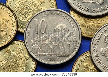 Coins of Serbia. Studenica monastery in Serbia depicted in Serbian ten dinars coin.