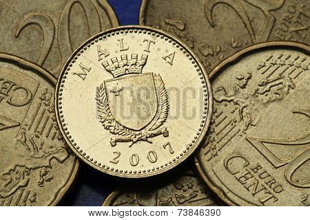 Coins of Malta. Maltese national coat of arms depicted in the old Maltese one cent coin.