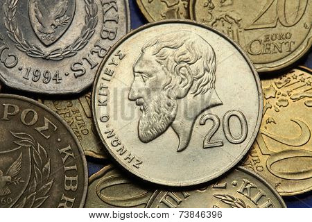 Coins of Cyprus. Greek philosopher Zeno of Citium depicted in the old Cypriot 20 cents coin.
