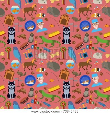 Domestic Pets Background. Pattern