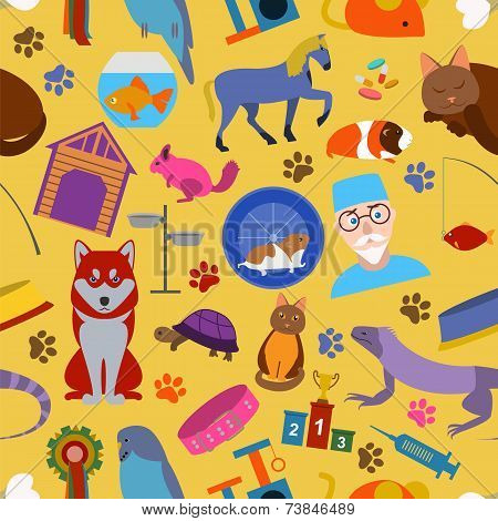 Domestic Pets Background. Pattern. Seamless