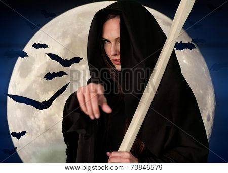 Witch death with  scythe on  background of moon and bats