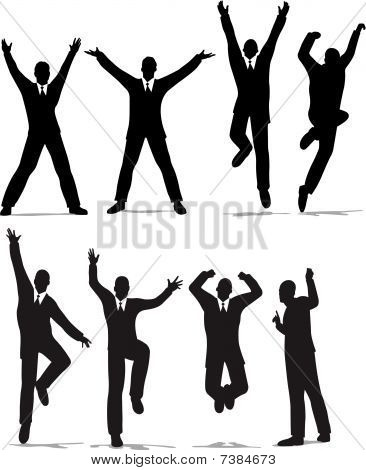 happy jump businessman silhouette vector