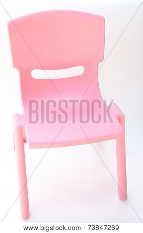 Pink Plastic Chair For Children On White, Side View