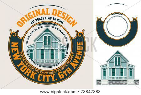 Premium Quality house label with baroque ornaments