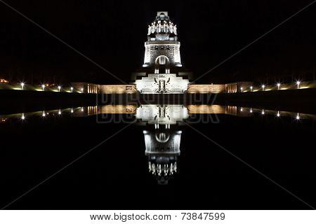 Battle Of Nations Monument By Night In Leipzig, Germany