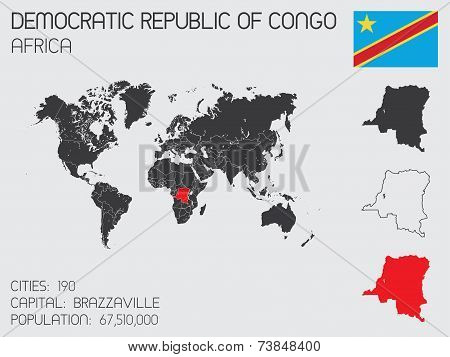 Set Of Infographic Elements For The Country Of Democratic Republic Of Congo