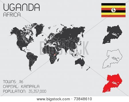 Set Of Infographic Elements For The Country Of Uganda