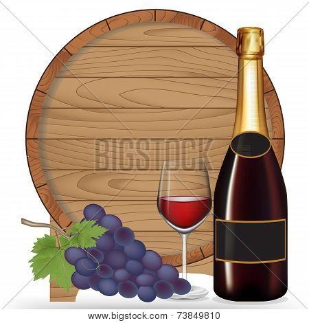 Bottle Wine,grape,glass Wine And Wooden Barrel ,vector Illustration