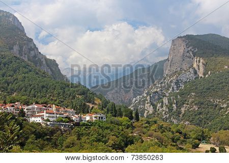 Mount In Greece. On The Foreground - Small Town Of Litohoro