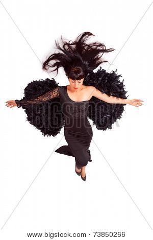 attractive women in black dress. dark angel