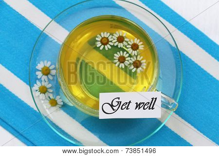 Get well card with cup of chamomile tea