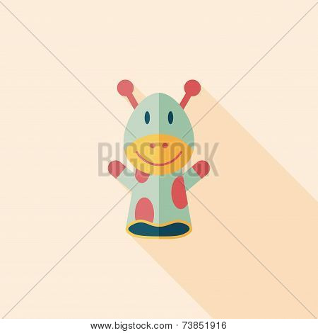 Giraffe Hand Puppet Flat Icon With Long Shadow,eps10