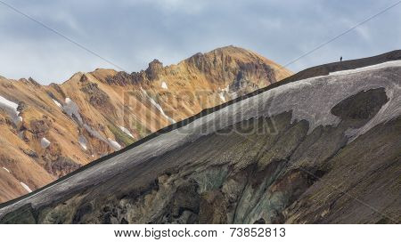 Couple along the ridge in Landmannalaugar lava landscape