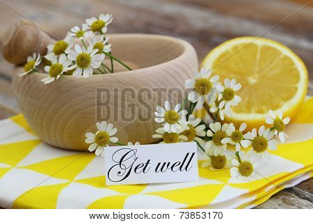 Get well card with chamomile flowers and fresh lemon