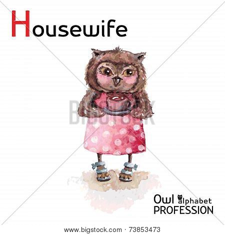 Alphabet professions Owl Letter H - Housewife character Vector Watercolor.