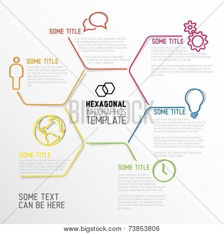 Vector Infographic report template made from lines and hexagons with fine shadows