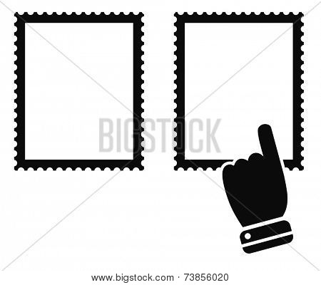 post stamp mark with hand cursor black icon - design element