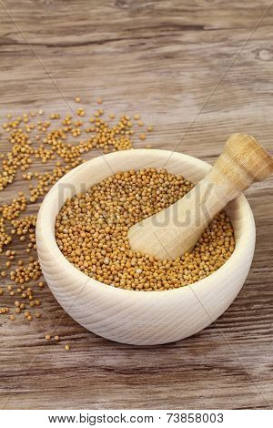 Mustard seeds in wooden mortar and mustard in white bowl with copy space