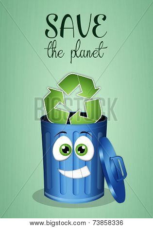 Blue Garbage Bin For Recycle